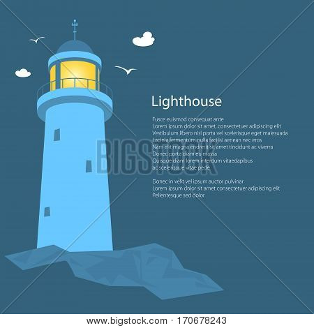 Lighthouse Stands on Rocks and Text, Beacon at Sea, Poster Brochure Flyer Design, Vector Illustration