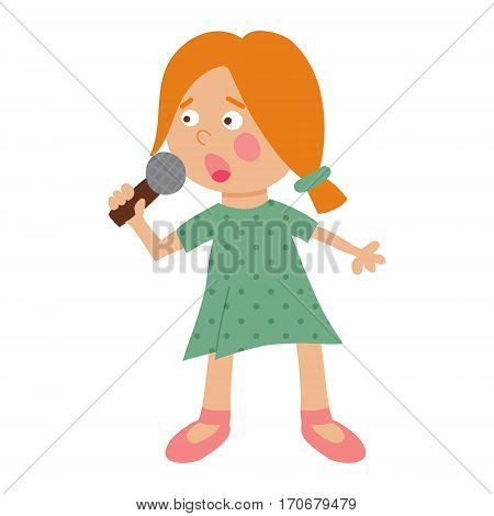 vector illustration of a cute blond girl singing and holding a microphone