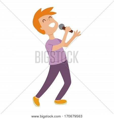 vector illustration of a cute blond boy holding a microphone and singing