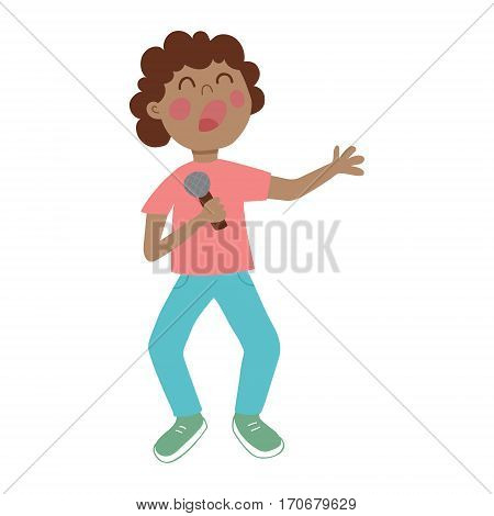vector illustration of a cute boy singing a song with microphone in his arms