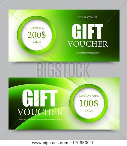 Gift company voucher template on one and two hundred dollars with green circles and wavy light swirl pattern. Vector illustration