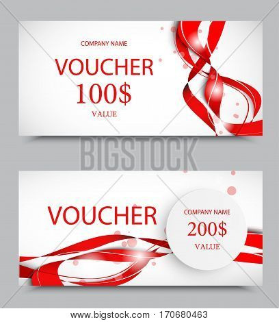 Gift company voucher template on two and one hundred dollars with gray paper circle and red wavy elegant lines pattern. Vector illustration