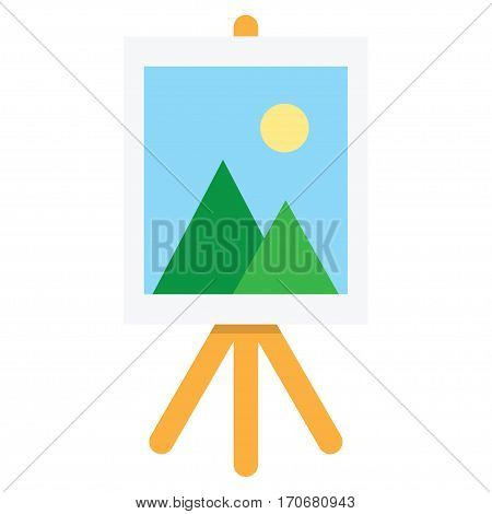 Wooden easel with blank space. Vector illustration. Isolated on Background