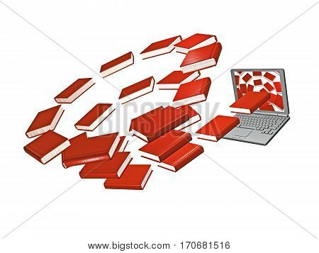 Books and laptop on the white background 3D illustration.