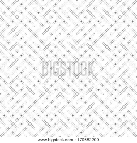 Vector seamless pattern. Modern stylish texture. Regularly repeating geometric grid with dashed thin zigzag lines rhombuses diamonds. Abstract linear maze background. Graphical design element
