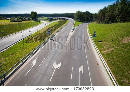 Highway (motorway) in Vilnius, Lithuania. A newly constructed street connects IXB transport corridor with Vilnius International Airport.