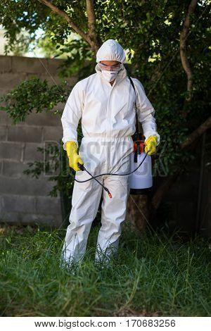 Man spraying pesticide on grass in lawn