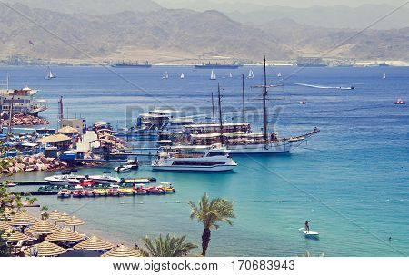 View on marina and central public beach of Eilat - famous resort city in Israel.