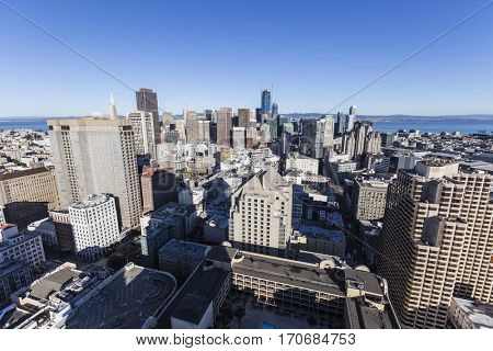 San Francisco, California, USA - January 13, 2017:  Clear day skyline view of downtown financial district towers.