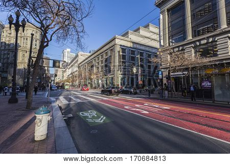 San Francisco, California, USA - January 12, 2017:  Weekend morning on Market Street near Union Square in downtown San Francisco.