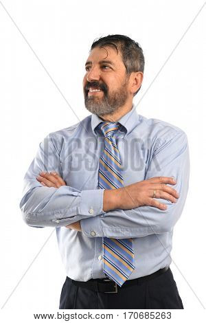 Senior Hispanic businessman smiling with arms crossed isolated over white background