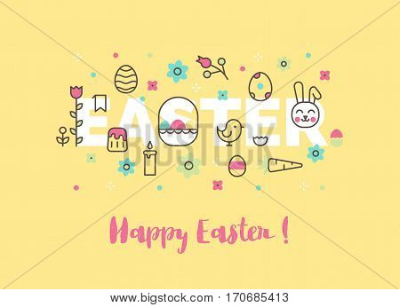 Egg hunt invitation banner. Modern line vector Easter illustration. Website banner or header. Ostern sunday spring celebration.
