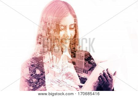 Double Exposure Of Business Woman Use Wireless Digital Tablet With Modern City Building