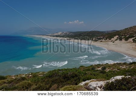 Patara beach in Mediterranean Turkey in summer