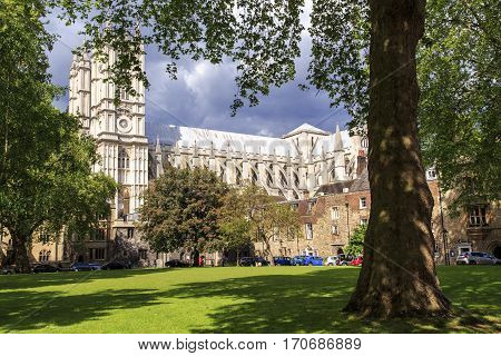 LONDON, GREAT BRITAIN - MAY 12, 2014: This is Dean's Yard near the Westminster Abbey - a small enclosed courtyard which houses the School of Westminster.