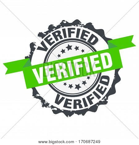 Verified stamp.Sign. Symbol. Logo design isolated on white