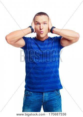 portrait of a surprised young man isolated against white background