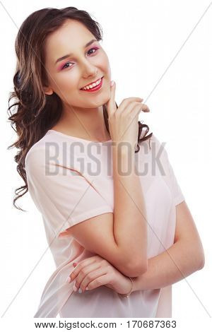 beautiful happy young woman, isolated against white