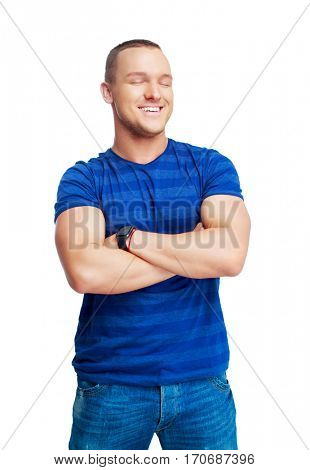 portrait of a happy smiling young man isolated against white background