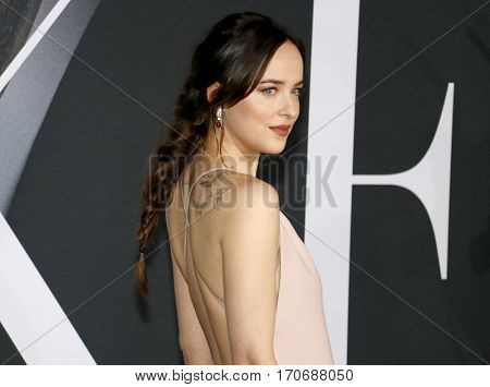 Dakota Johnson at the Los Angeles premiere of 'Fifty Shades Darker' held at the Theatre at Ace Hotel in Los Angeles, USA on February 2, 2017.