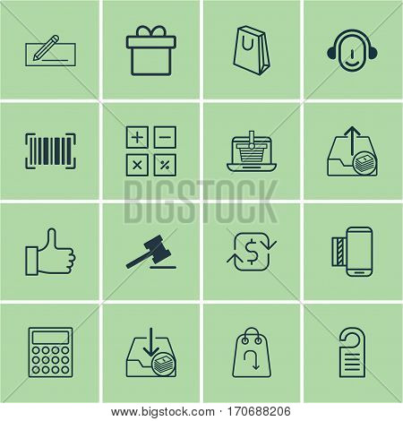 Set Of 16 Commerce Icons. Includes Gavel, Withdraw Money, Recurring Payements And Other Symbols. Beautiful Design Elements.