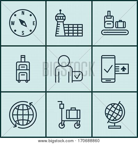 Set Of 9 Airport Icons. Includes Luggage, Globetrotter, World Sphere And Other Symbols. Beautiful Design Elements.