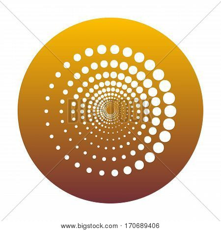 Abstract technology circles sign. White icon in circle with golden gradient as background. Isolated.