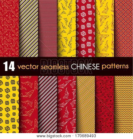Set Chinese with Ornamental Fish Vector Seamless Pattern in Red Black Yellow and White. The Lines of Different Thickness and Shape. Popular Gift Background. Included Pattern Swatches