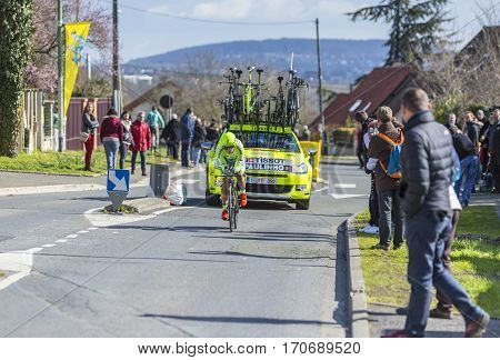 Conflans-Sainte-HonorineFrance-March 62016: The Portuguese cyclist Sergio Miguel Moreira Paulinho of Tinkoff Team riding during the prologue stage of Paris-Nice 2016.
