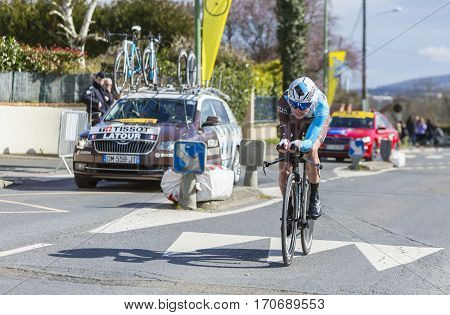 Conflans-Sainte-HonorineFrance-March 62016: The French cyclist Pierre-Roger Latour of AG2R La Mondiale Team riding during the prologue stage of Paris-Nice 2016.