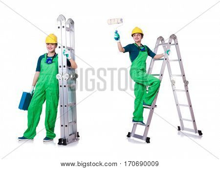 Female construction worker with toolkit and ladder