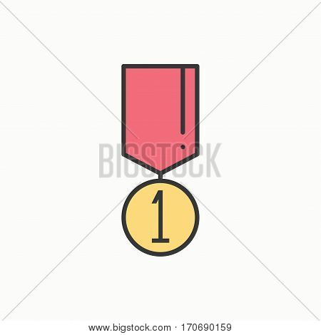 1st place gold medal award with ribbon. Winner line thin icon. First place leadership champion achievement. Vector isolated illustration. Linear flat design. Success symbols. Object. Sign.