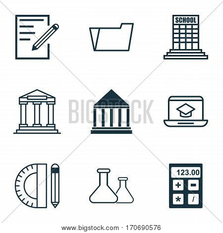Set Of 9 School Icons. Includes Education Tools, Academy, Paper And Other Symbols. Beautiful Design Elements.