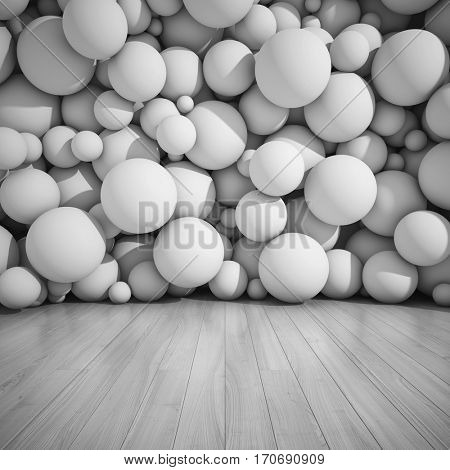 Architectural design of walls from spheres. 3D illustration.