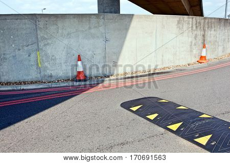 Speed bump in the middle of the road
