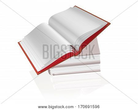 Stack of books on the white reflective background 3D illustration.