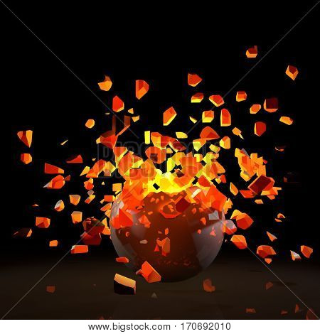 Explosion of red-hot sphere on black background. 3D illustration.