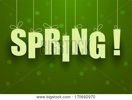 vector green spring background with spring lettering