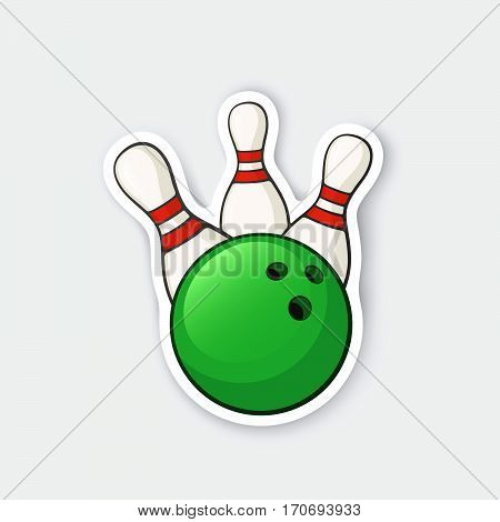 Vector illustration. Green bowling ball knocks down pins. Sports equipment. Cartoon sticker in comics style with contour. Decoration for greeting cards posters patches prints for clothes emblems