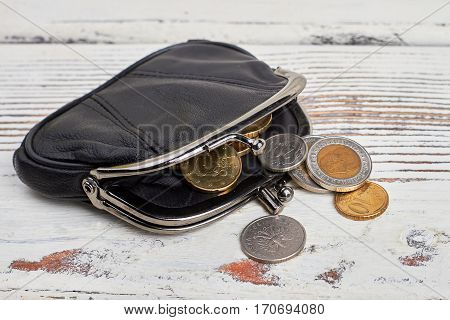 Purse with coins on wood. Current financial status.