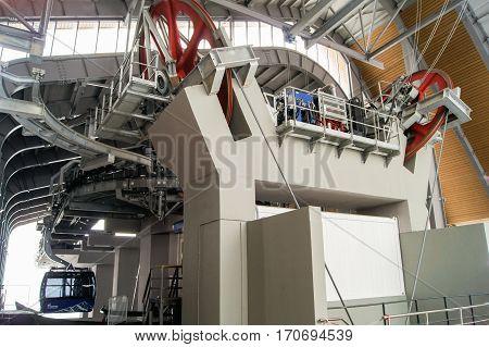 Sochi, Russia - 1 January, Engine room cableway, 1 January, 2017. Winter mountain ski resort Rosa Khutor.
