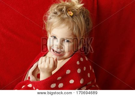 Little girl with pox infection