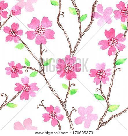 Watercolor seamless pattern with styled spring cherry blossoms.