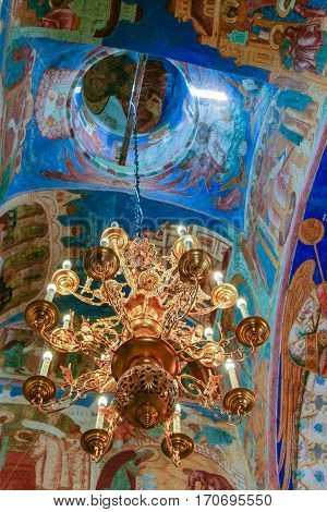 Chandelier and frescoes inside the Transfiguration Cathedral  of the Saviour Monastery of St. Euthymius, Russia, Suzdal