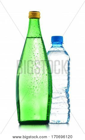 Two Bottles Of Mineral Water Isolated On White