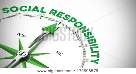 Corporate Social Responsibility concept on a compass (3D Rendering)