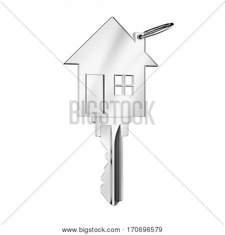 Key in house shape as broker or home financing concept (3D Rendering)