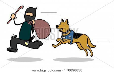 Cartoon police dog chasing thief or housebreaker