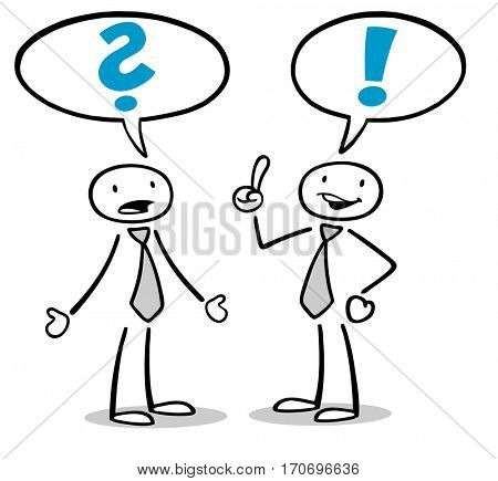 Cartoon business people discussion problem and solution in a speech bubble
