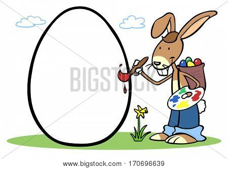 Cartoon easter bunny painting white egg for easter